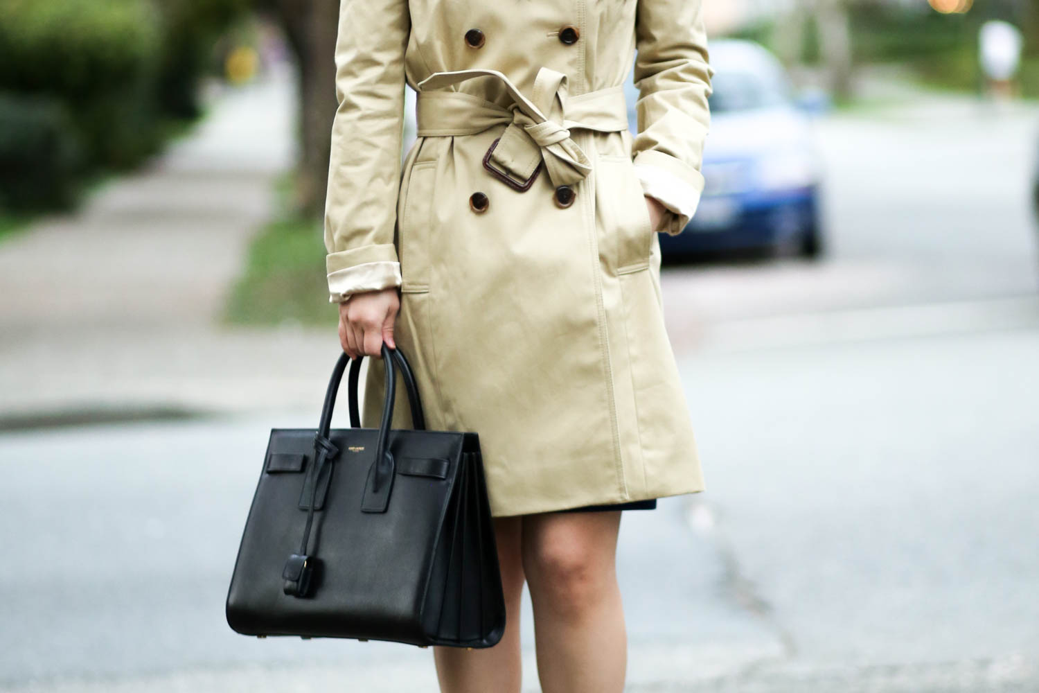 66c041819d0 Corporate Monday    Trench Coat with Structured Knit Zip Dress. I bought  this J. Crew trench coat because my Banana Republic parka was getting a  little too ...
