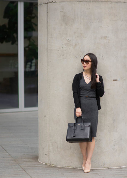Corporate Monday :: Belted Sheath Dress with Saint Laurent Tote