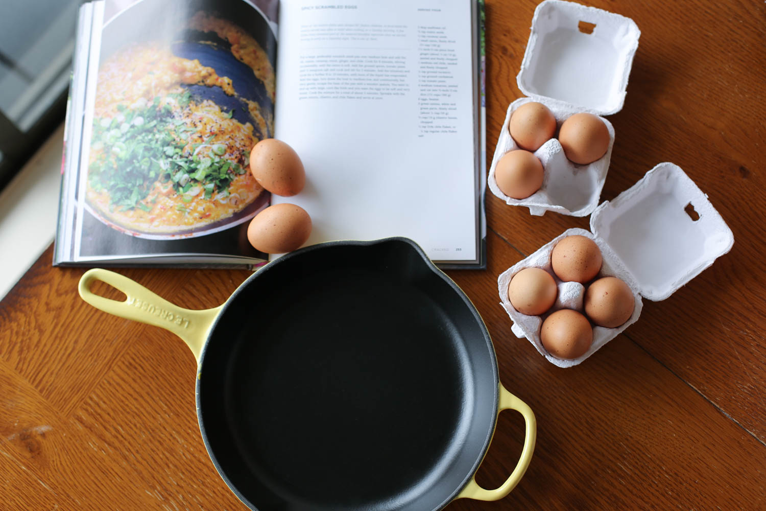 Making egg recipes using eggs from my hens. Pictured: Le Creuset 10