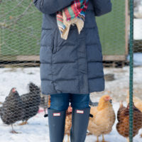 Chickens and Hunter Boots