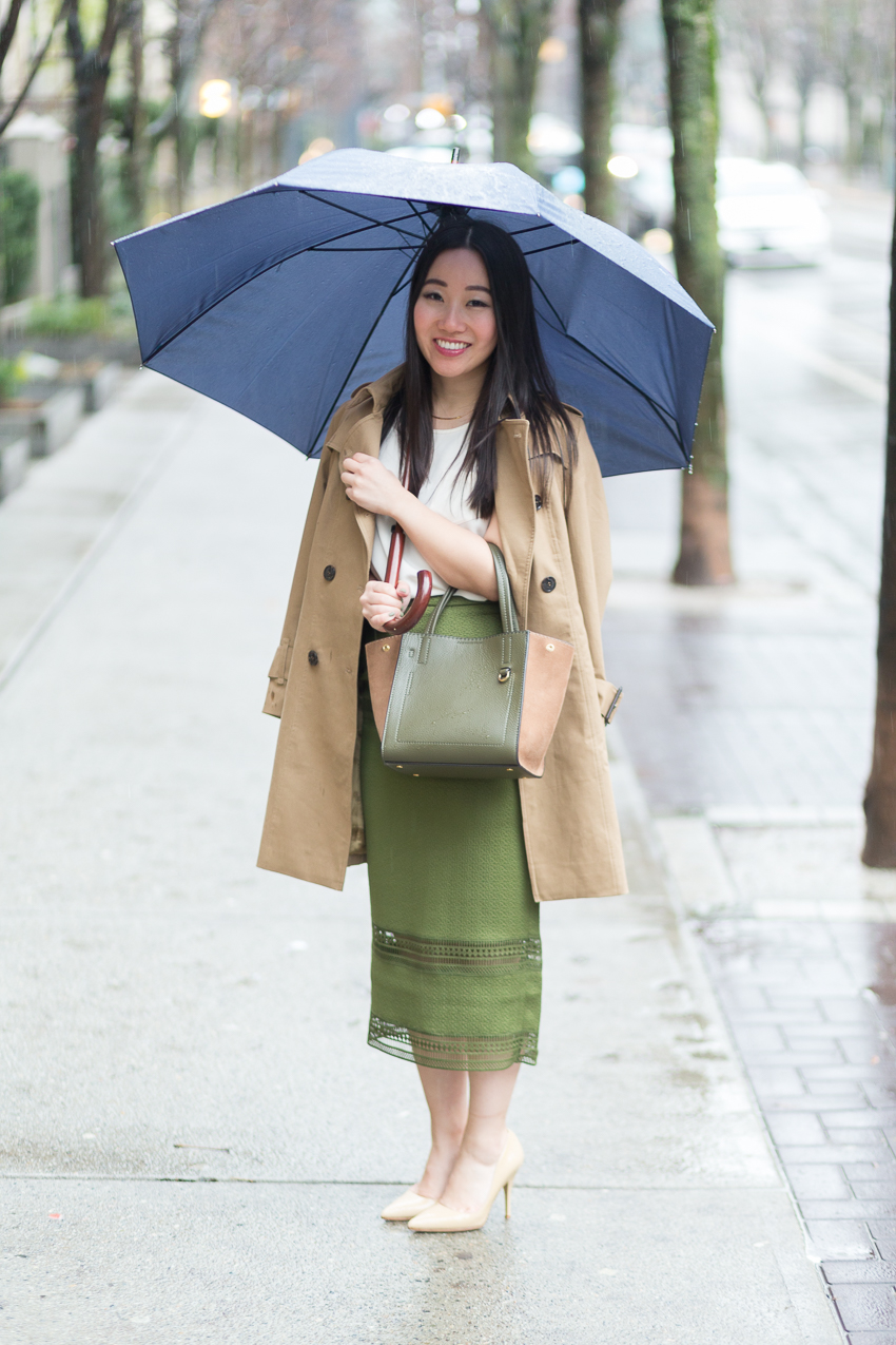 corporate outfit pencil skirt trench coat
