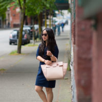 Mezzi cosima bag navy polo dress Vancouver blogger