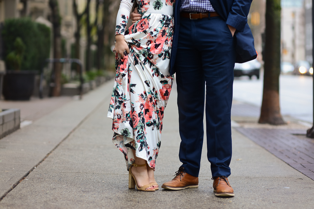 romantic couples photoshoot floral maxi dress