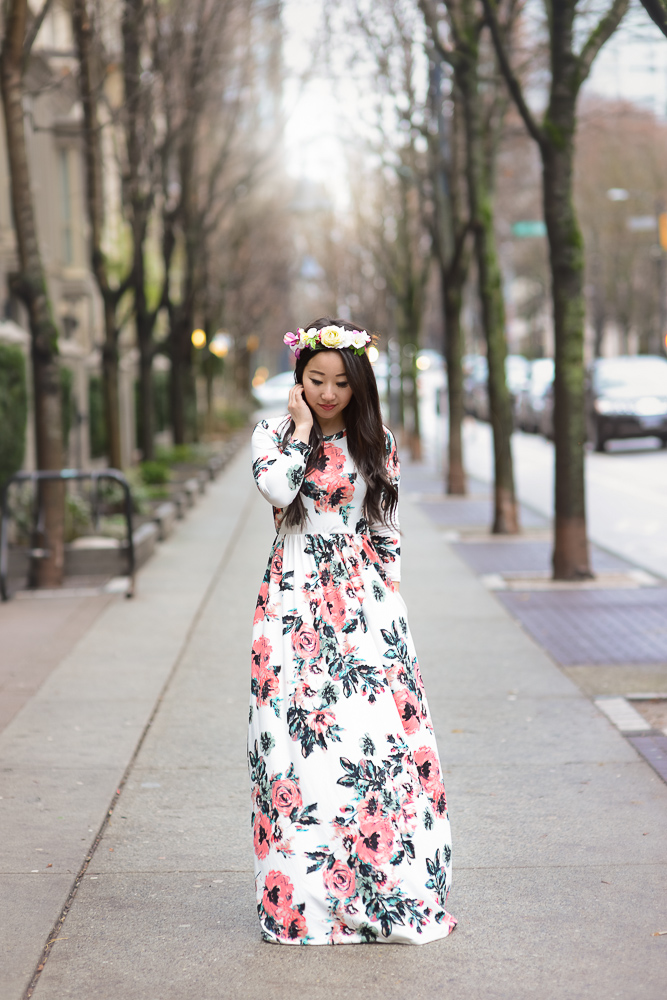 Floral maxi dress with flower crown