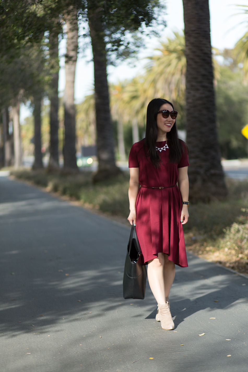 Rachel Parcell pocket bordeaux dress