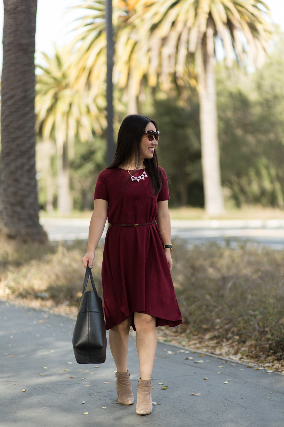 Rach Parcell bordeaux pocket dress