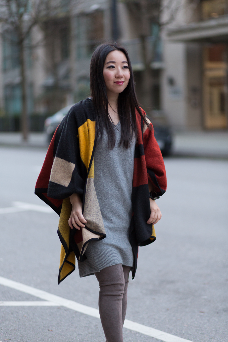 how to style cashmere sweater dress poncho