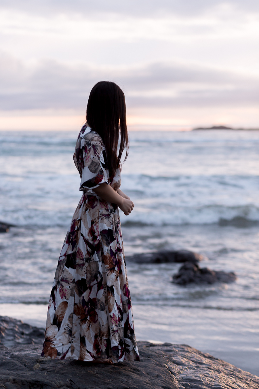 floral jessa kae dress Tofino beach