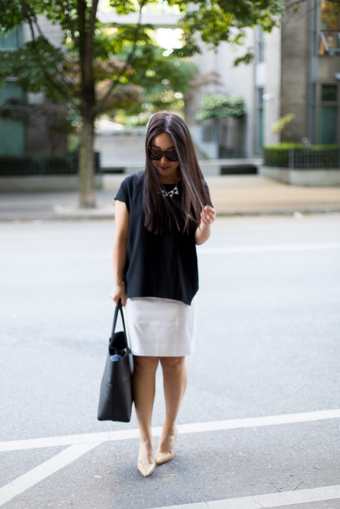 9 to 5 :: MM.Lafleur Top + White Pencil Skirt