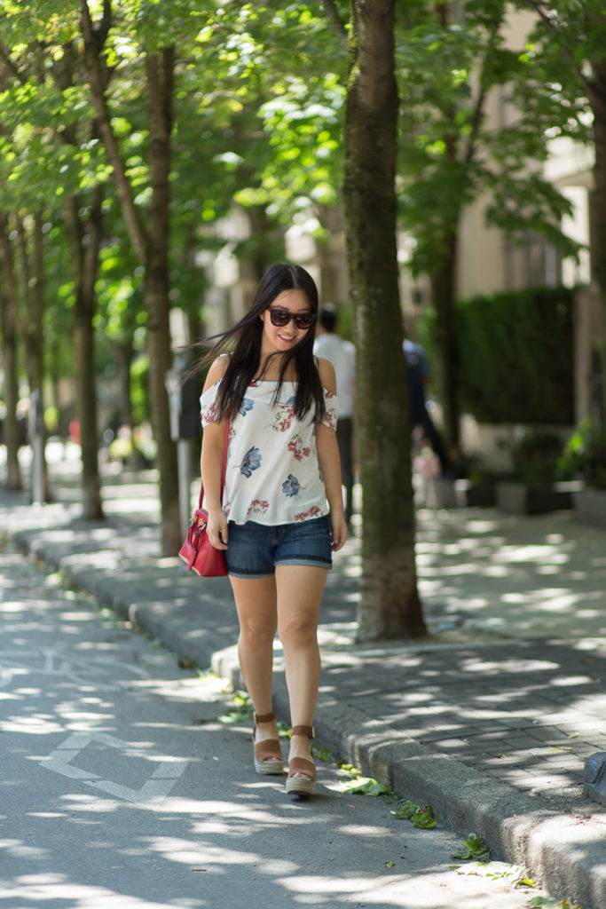 Summer Outfit: Floral Cold-Shoulder Top and Denim Shorts (+ a Life Update)