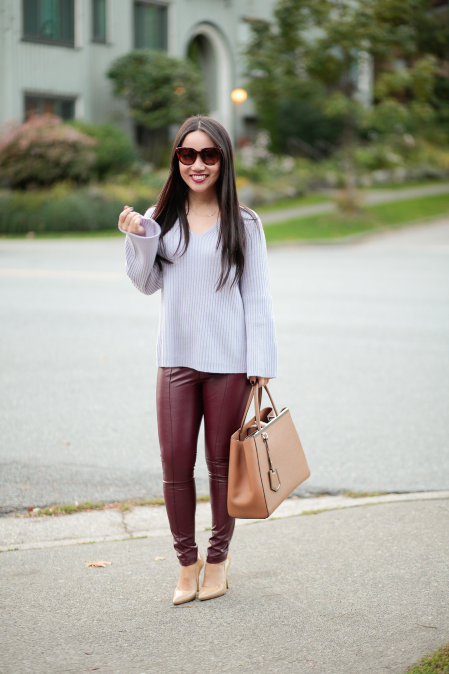 Vancouver style blogger fall burgundy outfit