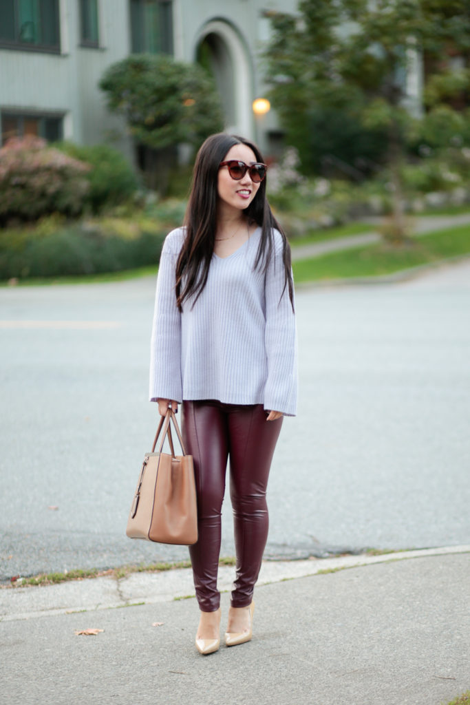 Fall Style :: Faux Leather Leggings + Bell Sleeve Sweater