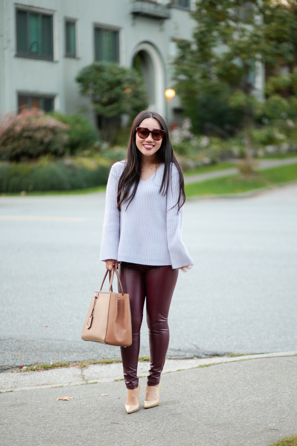 fall outfit burgundy faux leather leggings