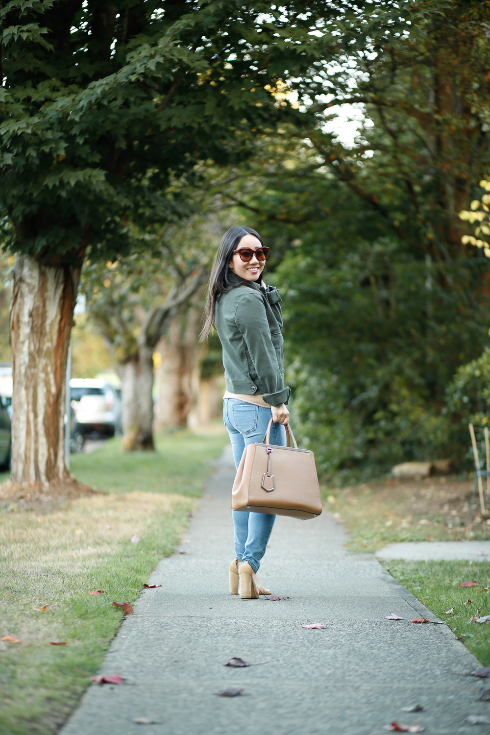 fall outfit military jacket