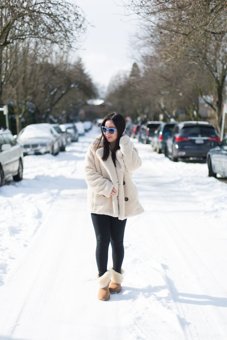 Coziest outfit ever: Free People Teddy Coat & Ugg Bailey